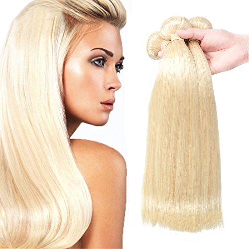 FASHION QUEEN Hair 613 Blonde Hair Bundles, Silk Straight Brazilian Virgin Hair, Honey Blonde Unprocessed Human Hair Weave 3 Bundles 300g Mixed Length(16''18''20'') by FASHION QUEEN