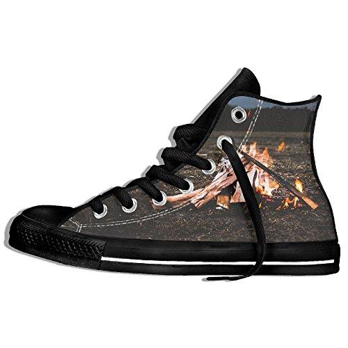 Classiche Sneakers Alte Scarpe Di Tela Anti-skid Legna Da Ardere Fuoco Fiamma Casual Da Passeggio Per Uomo Donna Nero