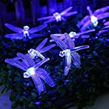WONFAST Solar String Lights, 20FT/6M 30 LED Dragonfly Christmas Fairy Garden Lights for Outdoor Home Lawn Party and Holiday Decorations (Blue)
