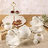 Porcelain Tea Cup and Saucer Coffee Cup Set with Saucer, Spoon, Sugar, Creamer 16 PC TC-HYHD-W