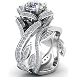 elegantshop Women Flower 925 Silver Jewelry White Sapphire Wedding 2pc Ring (10)