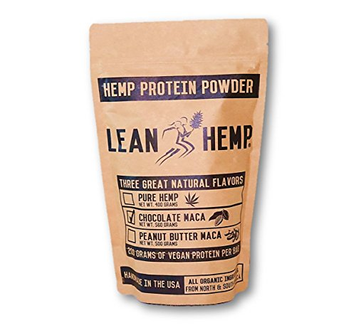 LeanHemp Chocolate Hemp Protein Powder with Maca  Organic, Vegan, Hi-Fiber  50% Protein 20 Grams Per Serving