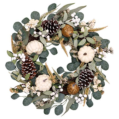 Valery Madelyn 24 inch Fall Wreath with White Pumpkin, Pine Cone, Berry Clusters, Leaves, Harvest Wreath for Front Door and Thanksgiving Decorations