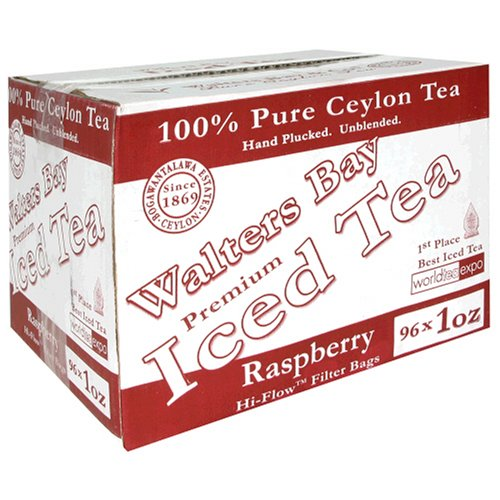 Walters Bay & Company, Pure Ceylon Premium Iced Tea, Raspberry Flavored,  96-Count, 1-Ounce Pouches by Walters Bay