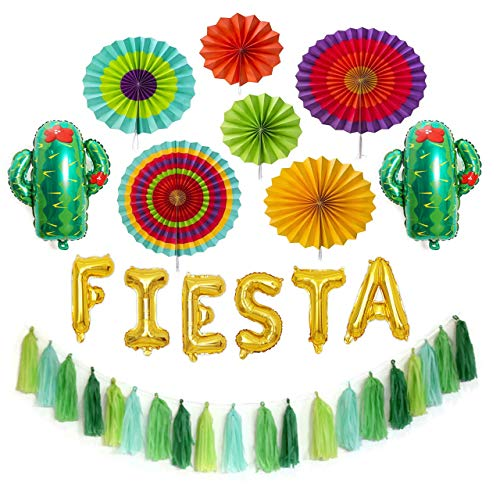 Fiesta Party Decorations Pack - 6 Colorful Paper Fans, Gold Fiesta Balloon Banner, Fiesta Party Tassel Garland, 2 Foil Cactus Balloons - Fiesta Party Supplies]()