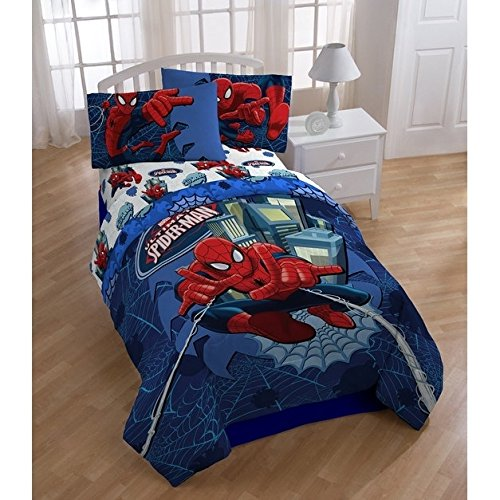 LO 1 Piece Blue Red Grey Kids Marvel Spider Man Themed Comforter Full, Fun Action Packed Super Hero Flying Web Power Bedding, Playful Character SpiderMan Ultimate Theme Pattern, Polyester