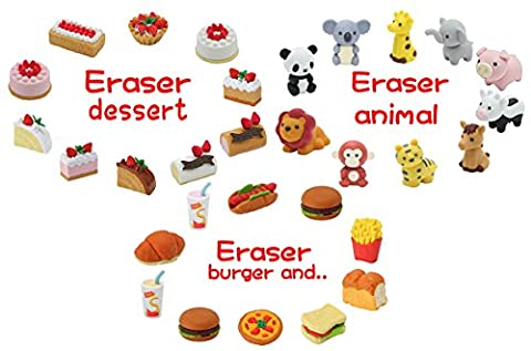 Iwako Japanese Eraser Dessert / Animal / Burger Shop / Each 10, Total 30 Assortment Value Set (With Our Shop Original Product