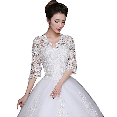 Yucou Bridal Lace Bolero Jacket Three Quarter Length Sleeve Jacket Wedding Bridal Shrug Wraps White,S