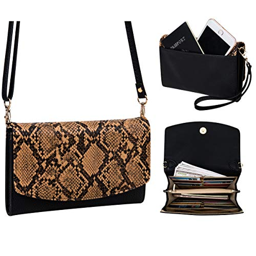 (Women's Clutches Purse with Wrist Strap Handbags Snake Print Wallet, Brown)