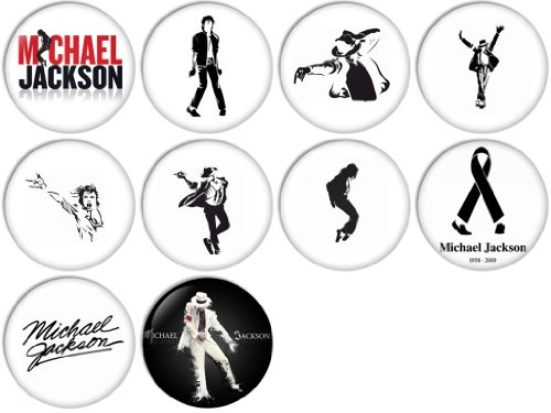 Michael Jackson Pinback Buttons Badges/Pin 1 Inch (25mm) Set of 10 ()