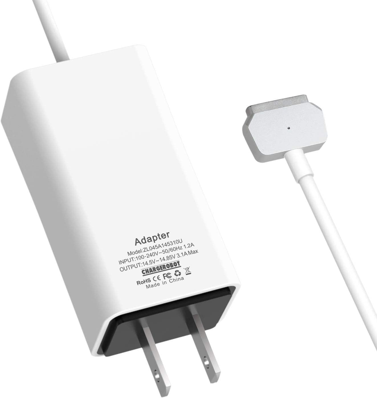 icalla 45W Mini Charger for Apple MAC MacBook Air 11 inches 13 inches T-tip (Mid 2012 to Early 2015), Replacement for Magsafe 2 Power Adapter, Magnetic45W 2T