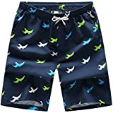 Ronlin Mens Beachwear Quick Dry Colorful Print High Tide Cool Summer Shorts Swimming Trunk