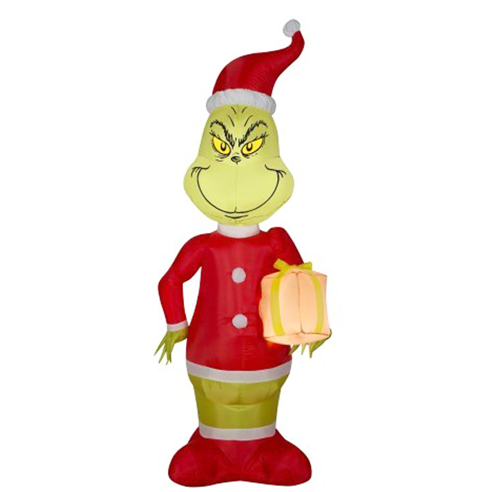 Giant Inflatable Christmas Grinch as Santa 4 Feet Tall Christmas Decorations with Led Light for Store Home Yard