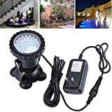 COVOART Pond Lights Waterproof IP68 Underwater Aquarium Spotlight 36-LED Color Changing Submersible Lamp Landscape Lamp for Swimming Pool Fish Tank Fountain Waterfall