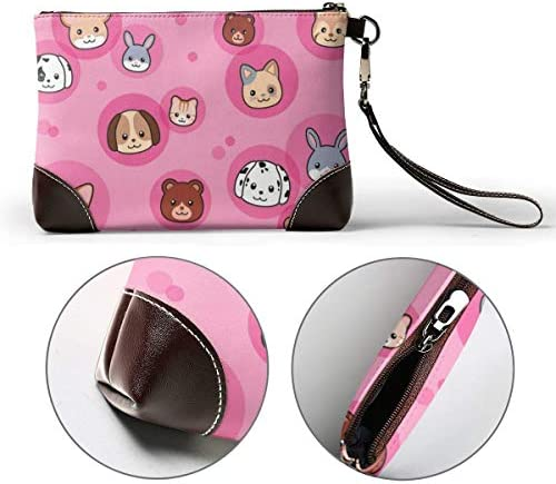 BFDX Animal Leather Clutch Purses Bag Phone Card Wallets Strap Zipper Soft Leather Wristlet Clutch Bags for Women Men with Slots Real Cowhide Leather Clutches