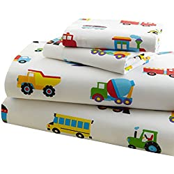 Wildkin Toddler Sheet Set, 100% Cotton Toddler Sheet Set with Top Sheet, Fitted Sheet, and Pillow Case, Bold Patterns Coordinate with Other Room Décor, Olive Kids Design – Trains, Planes, Trucks