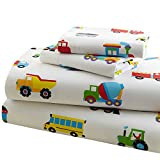 Wildkin Full Sheet Set, 100% Cotton Full Sheet Set with Top Sheet, Fitted Sheet, and Two Pillow Cases, Bold Patterns Coordinate with Other Room Décor, Olive Kids Design – Trains, Planes, Trucks