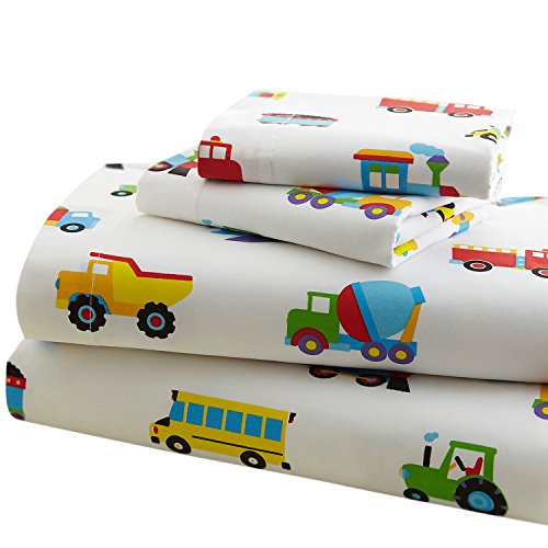 Train Pattern (Wildkin Full Sheet Set, 100% Cotton Full Sheet Set with Top Sheet, Fitted Sheet, and Two Pillow Cases, Bold Patterns Coordinate with Other Room Décor, Olive Kids Design – Trains, Planes, & Trucks)