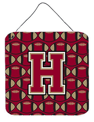 6 H x 6 W, Carolines Treasures Letter M Football Harvard Crimson and Yale Blue Wall or Door Hanging Prints CJ1076-MDS66