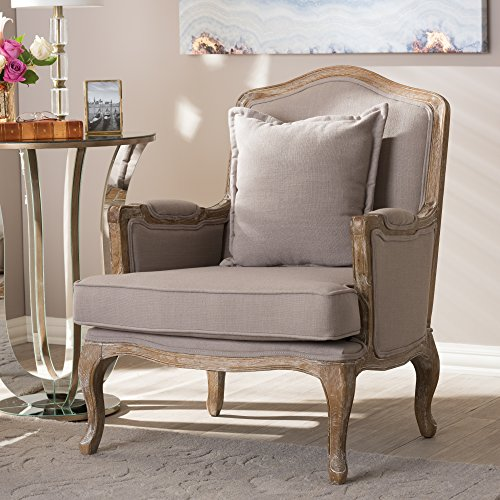 Baxton Studio Constanza Classic Antiqued French Accent Chair, 29.25L x 29W x 37.25H, Beige