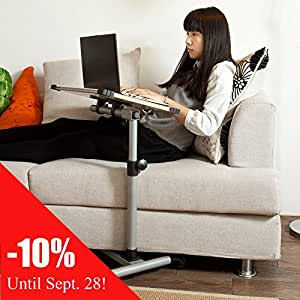 Inclinable Overbed Laptop tabla a la asistencia,MESITA AUXILIAR PLEGABLE CON RUEDAS para cama, butaca comer mesa,PC Portable,Color: Blanco, So-FBT07N-W