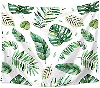 Nordic Plants Banana Tree Leaves Printed Green Hope Faith Love Enligsh Letter Printed Large Wall Tapestry Hanging Cloth Blanke