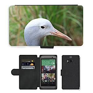 PU LEATHER case coque housse smartphone Flip bag Cover protection // M00113246 Grúa azul Cabeza Cara Pájaro Mosca // HTC One M8