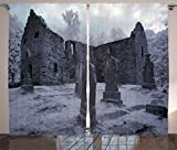 Ambesonne Gothic Decor Collection, Old Gothic Cemetery Church Tomb and Tombstone Mysticism Spooky Forest Style, Living Room Bedroom Curtain 2 Panels Set, 108 X 90 Inches, Cloudy Grey Review