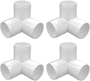 letsFix 3-Way 1 1/4 inch PVC Fitting, PVC Elbow Fittings PVC Pipe Connectors - Build Heavy Duty Furniture Grade for 1 1/4 inch PVC Pipe, White [Pack of 4]