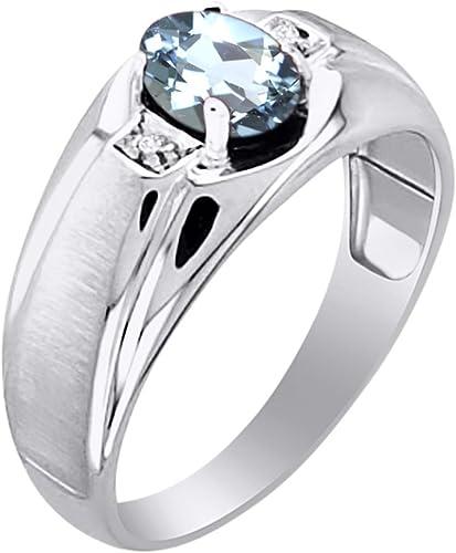 Men/'s 8c Onyx /& White Topaz Ring June Birthstone Gold Tone or Stainless Steel