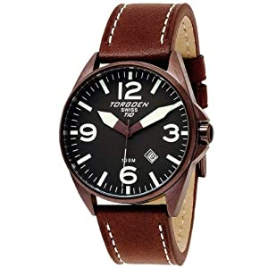 Torgoen T10 Series Brown Dial Leather Strap Mens Watch T10103