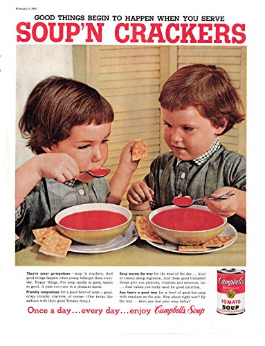 Campbell Art Deco Print - 1960 Campbell's Tomato Soup With Crackers-2 Kids-Original 13.5 * 10.5 Magazine Ad