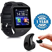 Lambent Black DZ09 Bluetooth Smart Watch with Camera, Sim & SD Card Slot with S530 Stylish Mini Bluetooth in-Ear V4.0