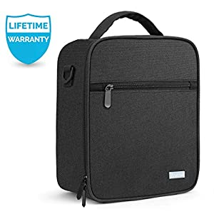 Lunch Bag with Firm Foil-BPA FREE, Amersun Original Reusable Insulated Lunch Box School Cooler Picnic Holder with Shoulder Strap for Kids Boys Men Women Girls,Spill-resistant & 2 Pockets (Black)