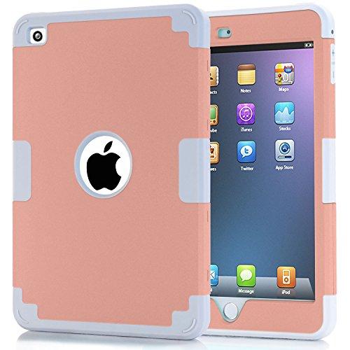 iPad mini 4 Case, iPad mini 4 Retina Case, Easytop Anti-slip Shock-absorption Silicone Inner Bumper High Impact Resistant Hybrid Three Layer Protective Cover Case for iPad mini 4 (Rose Gold + Grey)