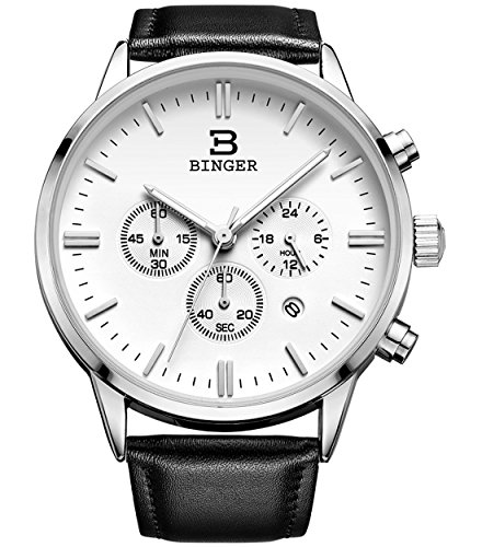 BINGER Date Unisex 24 Hr Watch Online Stopwatch Chronograph Watches For Men Black Leather Strap Luminous