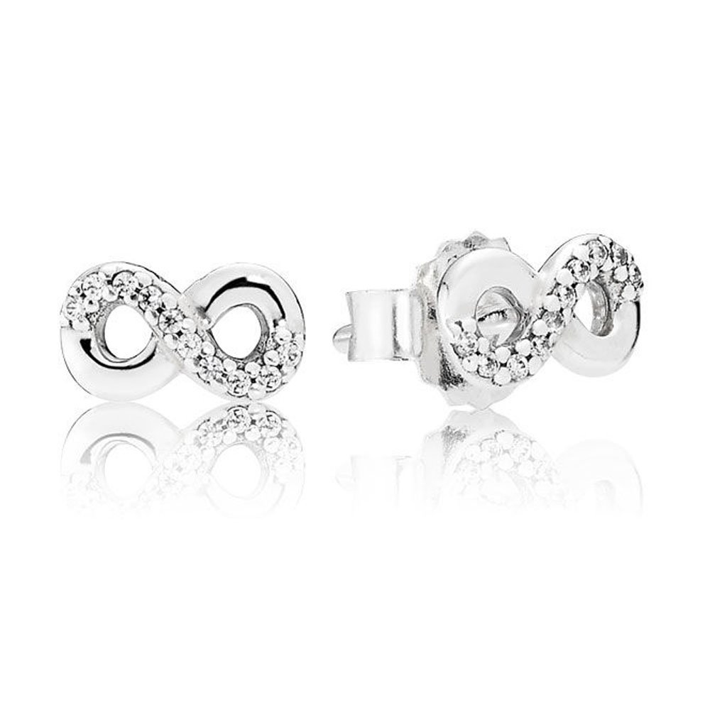 Dividiamonds 18k White Gold Plated White Cubic Zirconia Half Set Infinity Stud Earrings With Screw Back