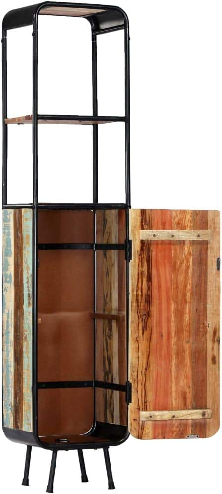Tidyard Highboard Vintage-Style 40 x 30 x 180 cm Solid Rough Mango Wood with 1 Door and 2 Shelves