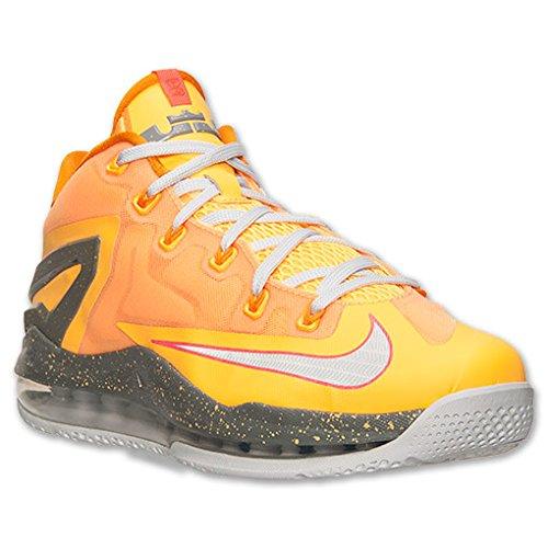 Nike Max Lebron XI Low Men Sneakers Atomic Mango/Kumquat/Med Base Grey/Lt Base Grey 642849-800 (Size: 12)