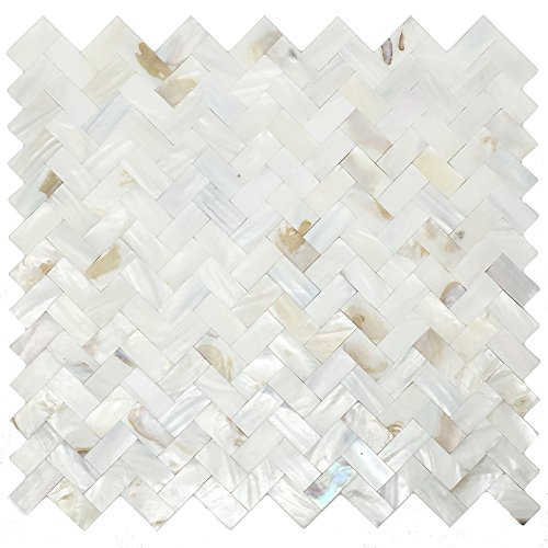 Mother of Pearl Oyster White Natural Sea Shell Seamless Herringbone Tile for Kitchen Backsplashes (5 Sheets)