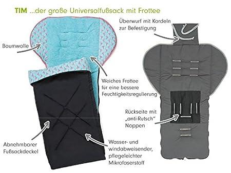 PRIEBES TIM Universal-Fu/ßsack f/ür Kinderwagen/&Buggy//Anti-Rutschschutz durch Noppen//Fu/ßteil abnehmbar//Baby-Fu/ßsack atmungsaktiv Design:ballons aqua