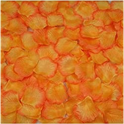 1000Qingsun Rose Petals Artificial Flower Wedding Party Vase Decor Bridal Shower Favor Centerpieces Confetti (Orange yellow)