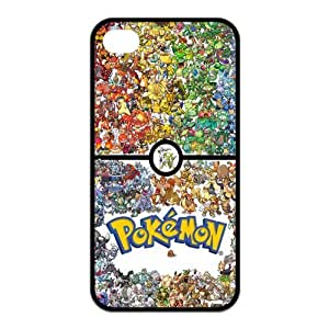 4S Case,TPU iPhone 4s Case,Pokemon Pikachu Design Fashion Pattern Hard Back Cover Snap on Case for iPhone 4 / 4s (Black/white)