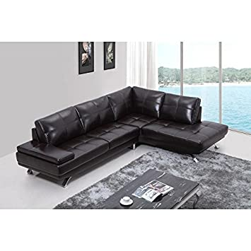 Amazon.com: VIG- Knight Divani Casa Modern Brown Leather ...