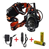 Welltop® 18650 Headlamp 2500 Lumens CREE U2 LED 3 Mode Waterproof Headlamp Retractable Zoom Headlight with 2 Pcs Topwell 18650 3600mah battery with AC charger For Hiking Camping (Light+new battery+charger+car charger)