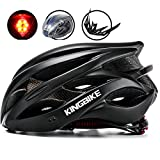 KINGBIKE Adult Bike Helmet Ultralight with Bicycle Helmets Rain Cover and Safety Rear Led Light Visor for Men Women Cycling Biking(Black,XL) For Sale