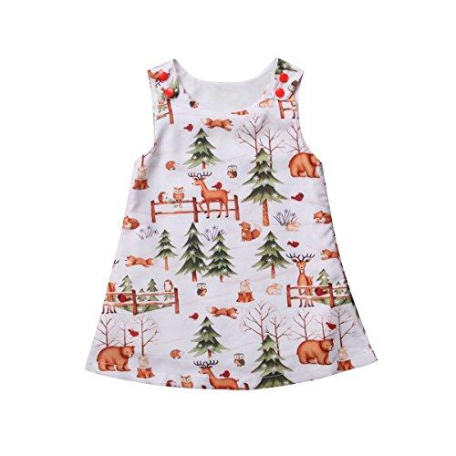 Binwwede Toddler Girls Dresses Cute Sleeveless Woodlands Cartoon Princess Dress Outfits (White, 18-24months) -