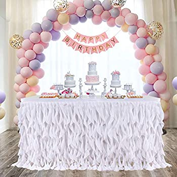 NSSONBEN Tulle 6ft Fluffy Black Table Skirt Tutu Table Cover for Princess Wedding Birthday Party