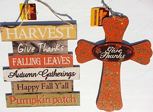 Give Thanks Harvest - Fall Harvest Give Thanks Home Decor/ Wooden Harvest Welcome Wall/Door Hanging Sign (Thanksgiving)