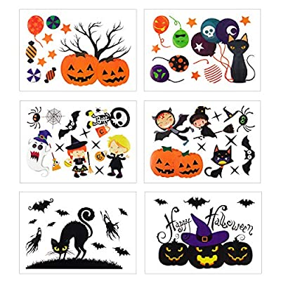 Alphatool 6 Sheet Wacky Halloween Window Decal Stickers- 52 Pcs Removable Halloween Window Clings- Pumpkins Spooky Witch Ghost Bats Tomb for Halloween Party Favors, Window Decoration